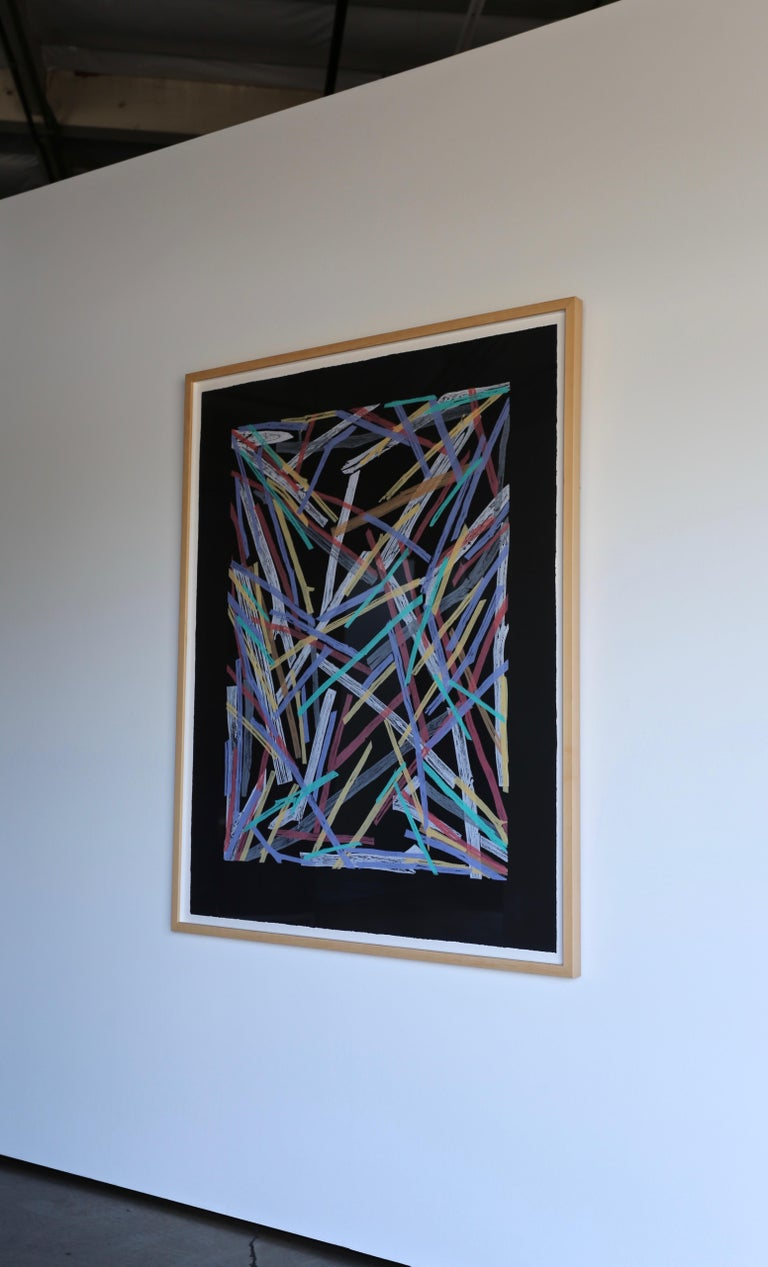 Charles Arnoldi untitled 58/70. 1983. Colored woodcut on black paper this piece is signed, numbered and has been custom framed.