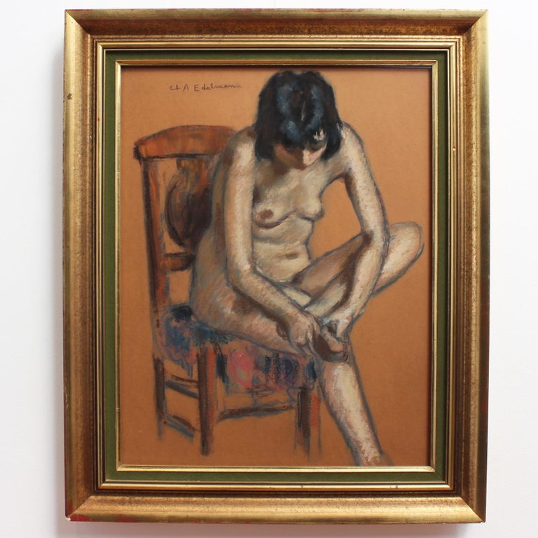 The Chair - Painting by Charles Auguste Edelmann