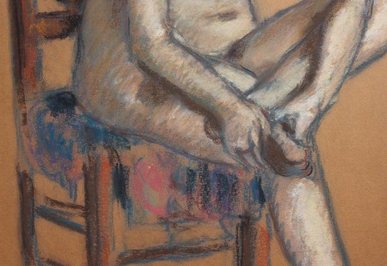 The Chair - Brown Nude Painting by Charles Auguste Edelmann