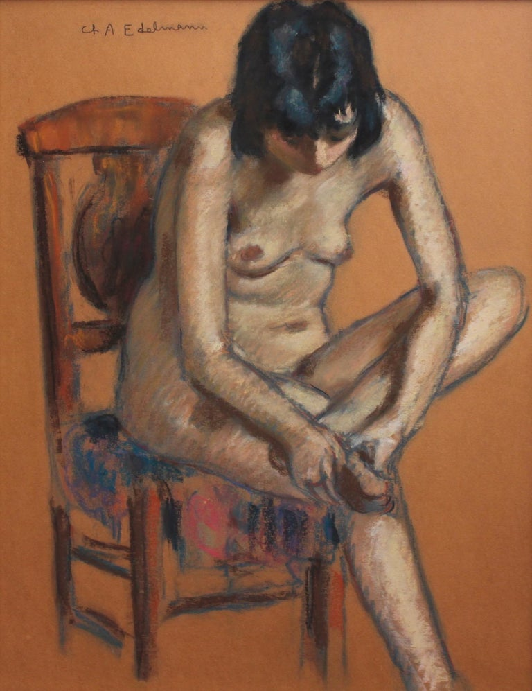 'Modern Urban Woman in Nude', pastel on coloured fine art paper, (circa 1930s), by Charles Auguste Edelmann (1879 - 1950). The quality of this work and skill of the artist is unquestionable. The painting depicts a woman having just returned home