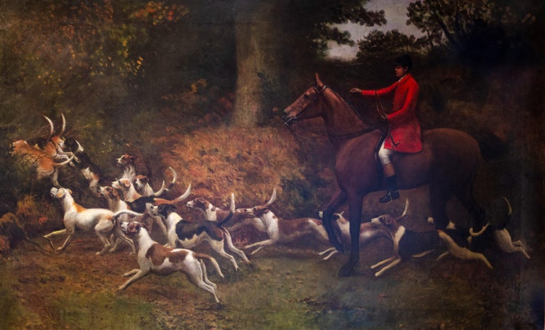 Enormous 19th Century British Sporting Horses & Hounds Hunting Oil Painting - Black Animal Painting by Charles Augustus Henry Lutyens