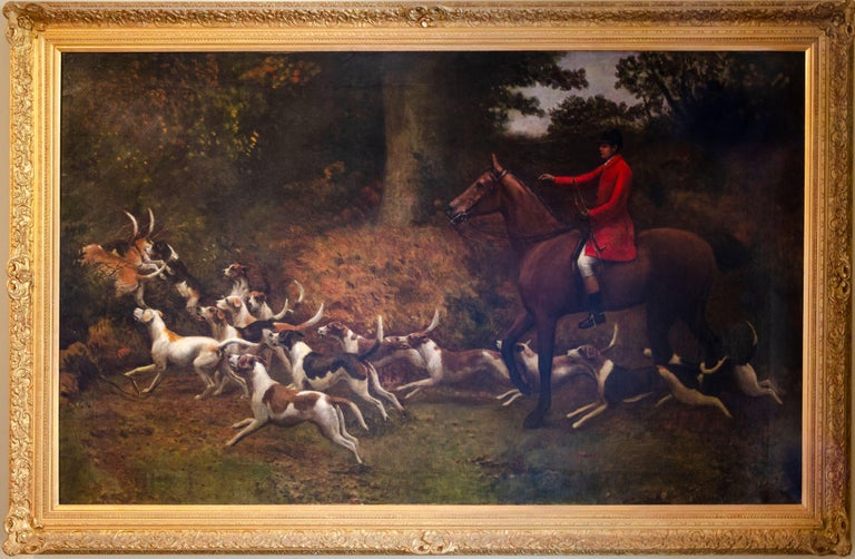 Charles Augustus Henry Lutyens Animal Painting - Enormous 19th Century British Sporting Horses & Hounds Hunting Oil Painting