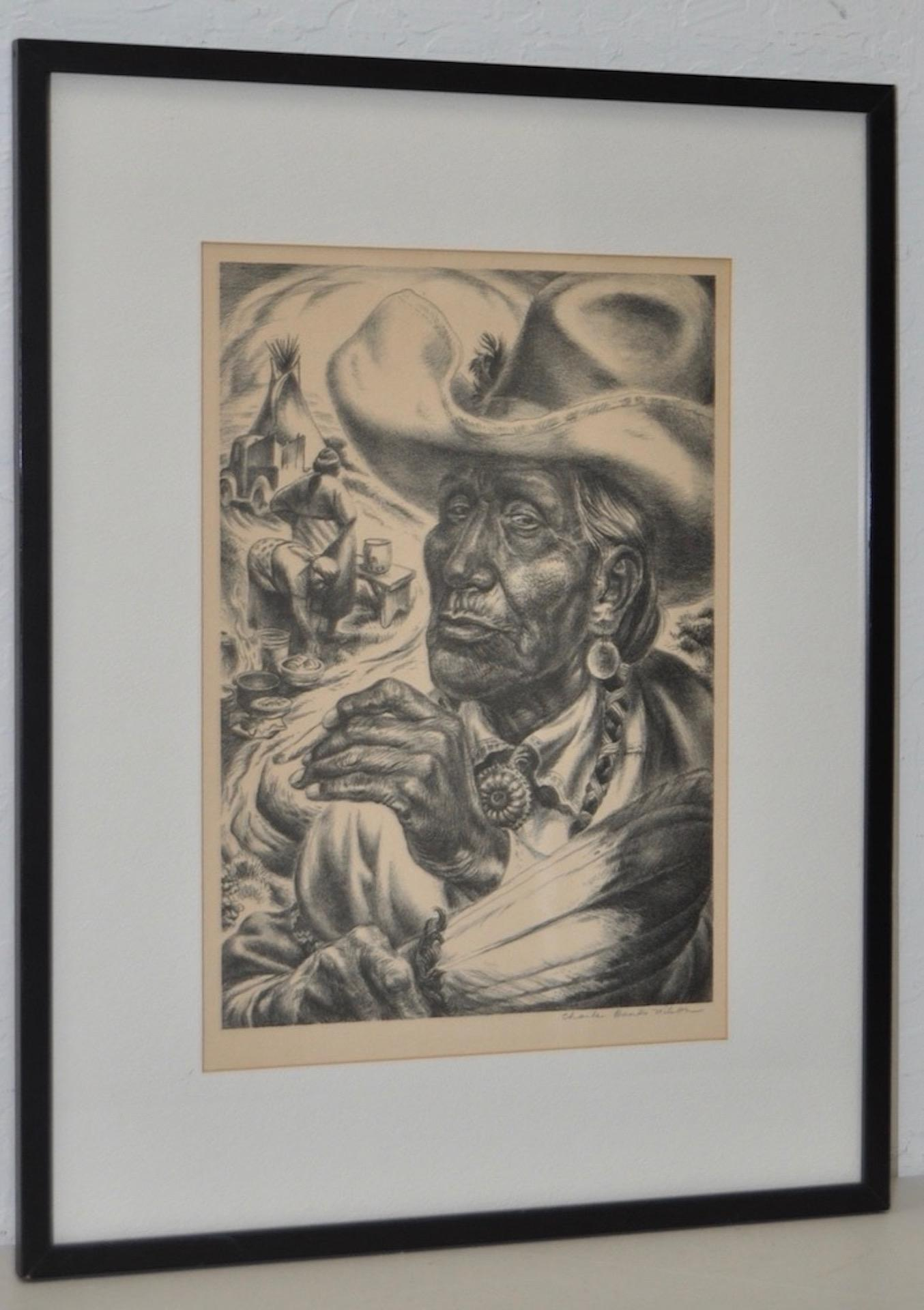"Charles Banks Wilson ""Old Injun"" Pencil Signed Lithograph c.1948"