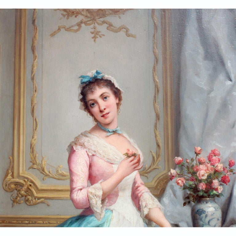 Carved Charles Baptiste Schreiber 'French, 1845-1845' 19th C. Oil on Board Summer Roses For Sale