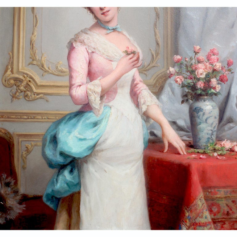 Charles Baptiste Schreiber 'French, 1845-1845' 19th C. Oil on Board Summer Roses In Good Condition For Sale In Los Angeles, CA
