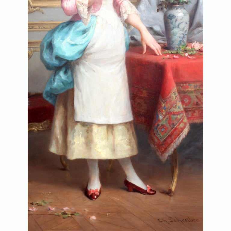 19th Century Charles Baptiste Schreiber 'French, 1845-1845' 19th C. Oil on Board Summer Roses For Sale