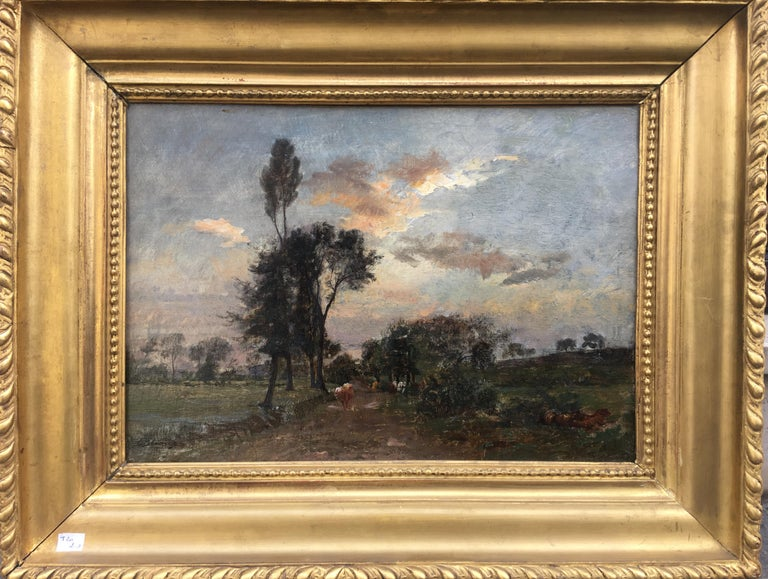 Country Lane With Herd, Oil Canvas signed Charles Beauverie, Barbizon circa 1880 - Barbizon School Painting by Charles Beauverie