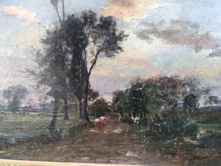 Country Lane With Herd, Oil Canvas signed Charles Beauverie, Barbizon circa 1880 - Gray Landscape Painting by Charles Beauverie