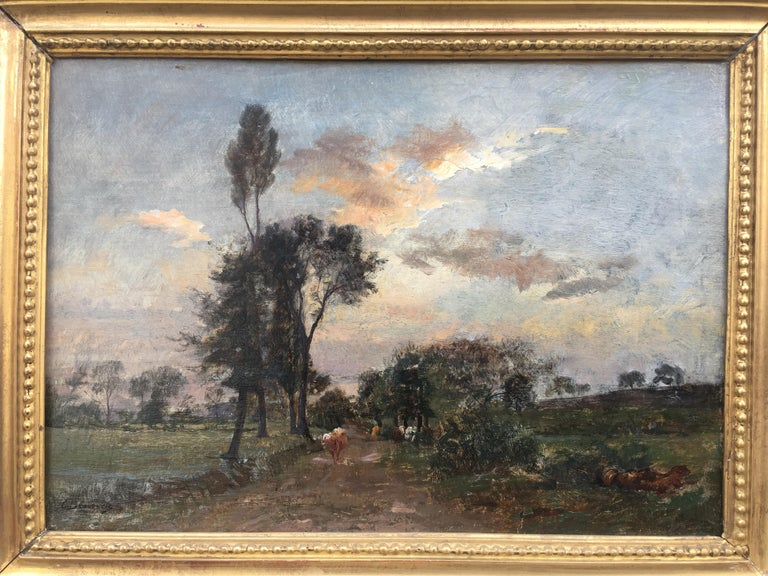 Country Lane With Herd, Oil Canvas signed Charles Beauverie, Barbizon circa 1880 For Sale 1