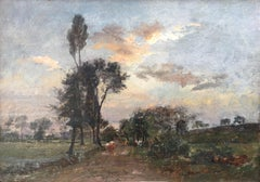 Country Lane With Herd, Oil Canvas signed Charles Beauverie, Barbizon circa 1880