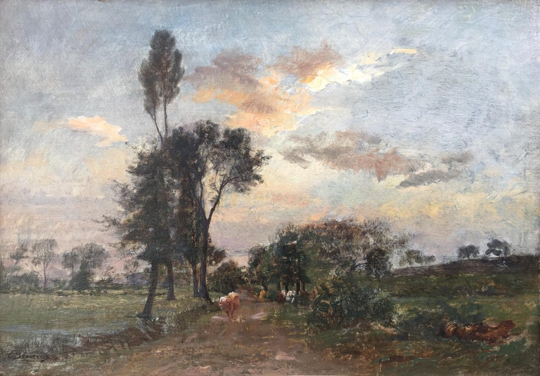 Country Lane With Herd, Oil Canvas signed Charles Beauverie, Barbizon circa 1880 - Painting by Charles Beauverie