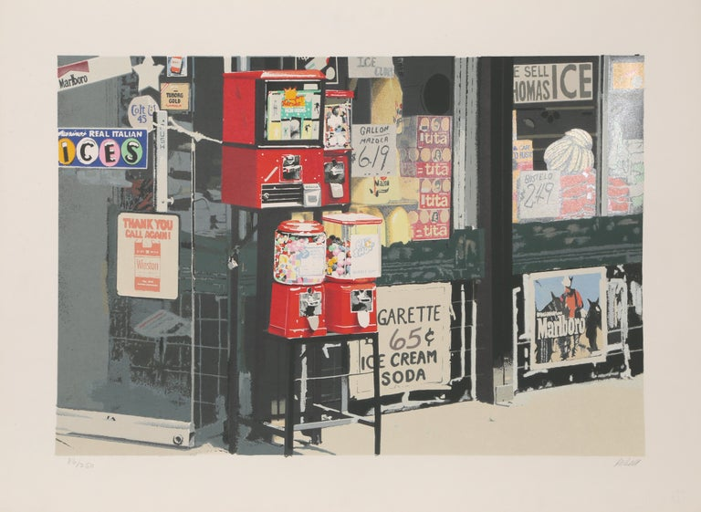 Artist: Charles Bell, American (1935 - 1995) Title: Little Italy Year: 1981 Medium: Silkscreen on White Somerset Satin, signed and numbered in pencil Edition:  250, 30 AP Image Size: 18 x 26 inches Size: 22 in. x 30 in. (55.88 cm x 76.2 cm)