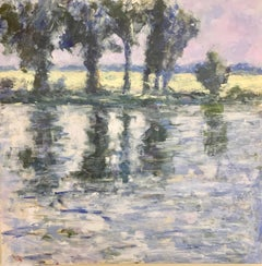 Abstract English Impressionist landscape with sunlight river and trees by a bank