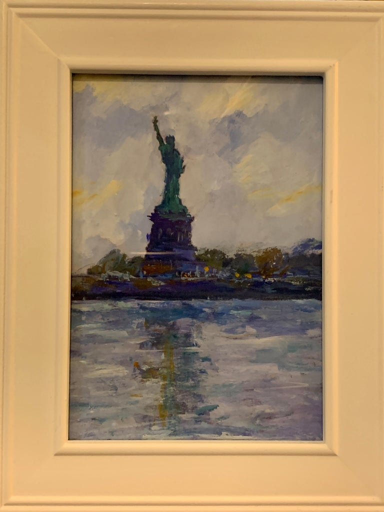 American Impressionist, sketch of The Statue of Liberty from the East River NYC - Painting by Charles Bertie Hall