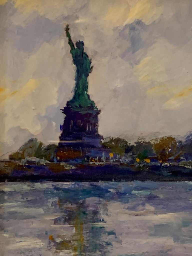 American Impressionist, sketch of The Statue of Liberty from the East River NYC - Beige Landscape Painting by Charles Bertie Hall