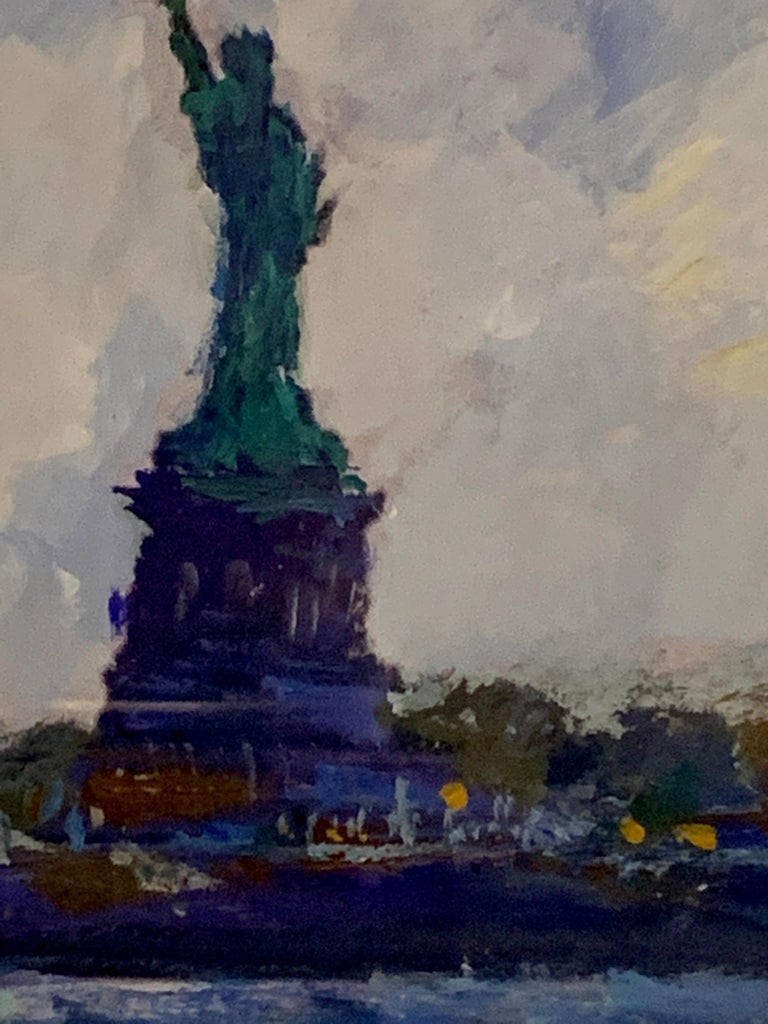 American Impressionist Off the Statue of Liberty, New York City, August 2010  Hall traveled to NYC in 2010 and painted a number of marine, river, and cityscapes for private clients. This is one of the sketches he painted whilst in the city.