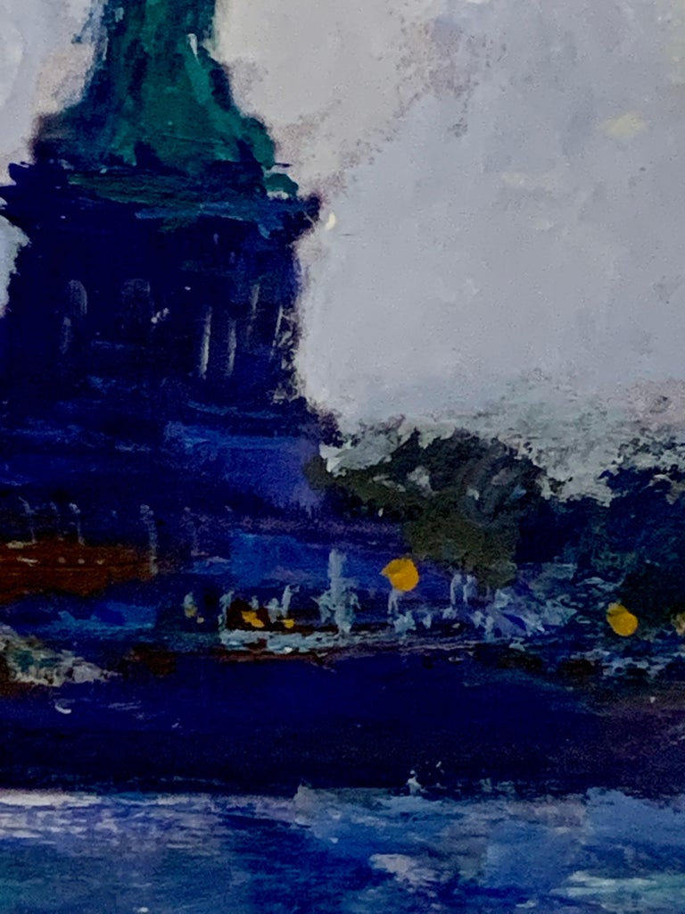 American Impressionist, sketch of The Statue of Liberty from the East River NYC For Sale 1