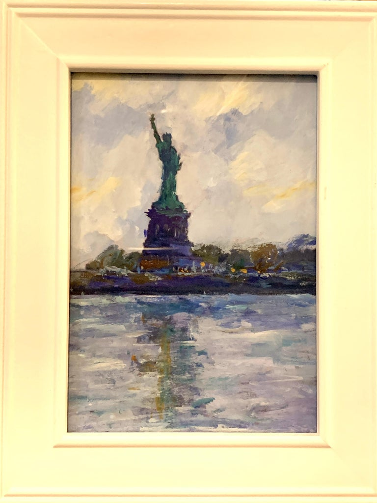 Charles Bertie Hall Landscape Painting - American Impressionist, sketch of The Statue of Liberty from the East River NYC