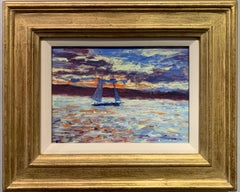American Impressionist Yacht sailing off the coast of Nantucket with landscape