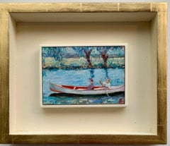 English Impressionist scene of two women in a canoe, with a landscape beyond