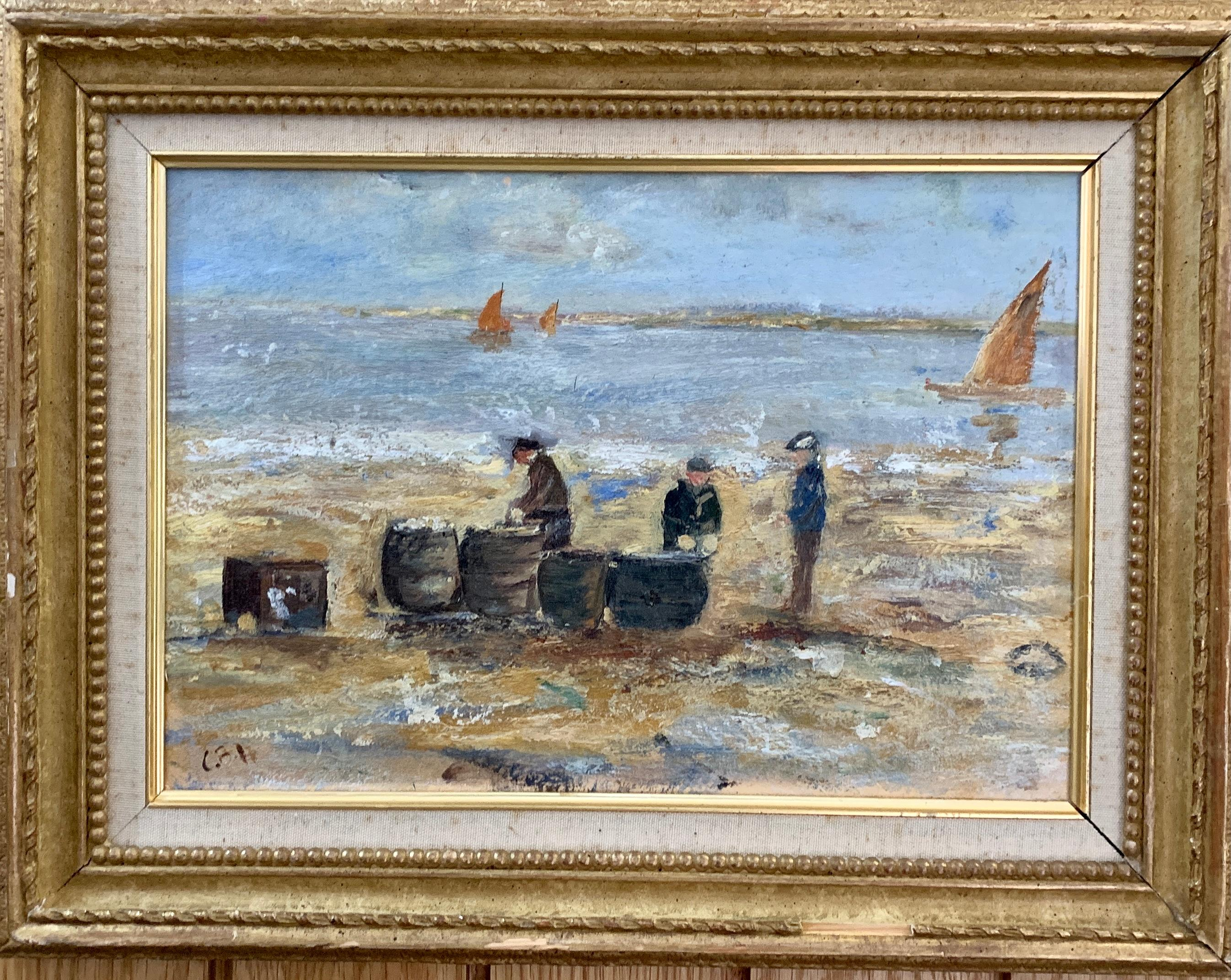 English Impressionist view of Men salting fish in Normandy France