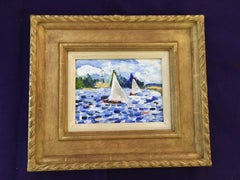 Fantastic French Impressionist scene of a sail boat on the Seine, Paris France
