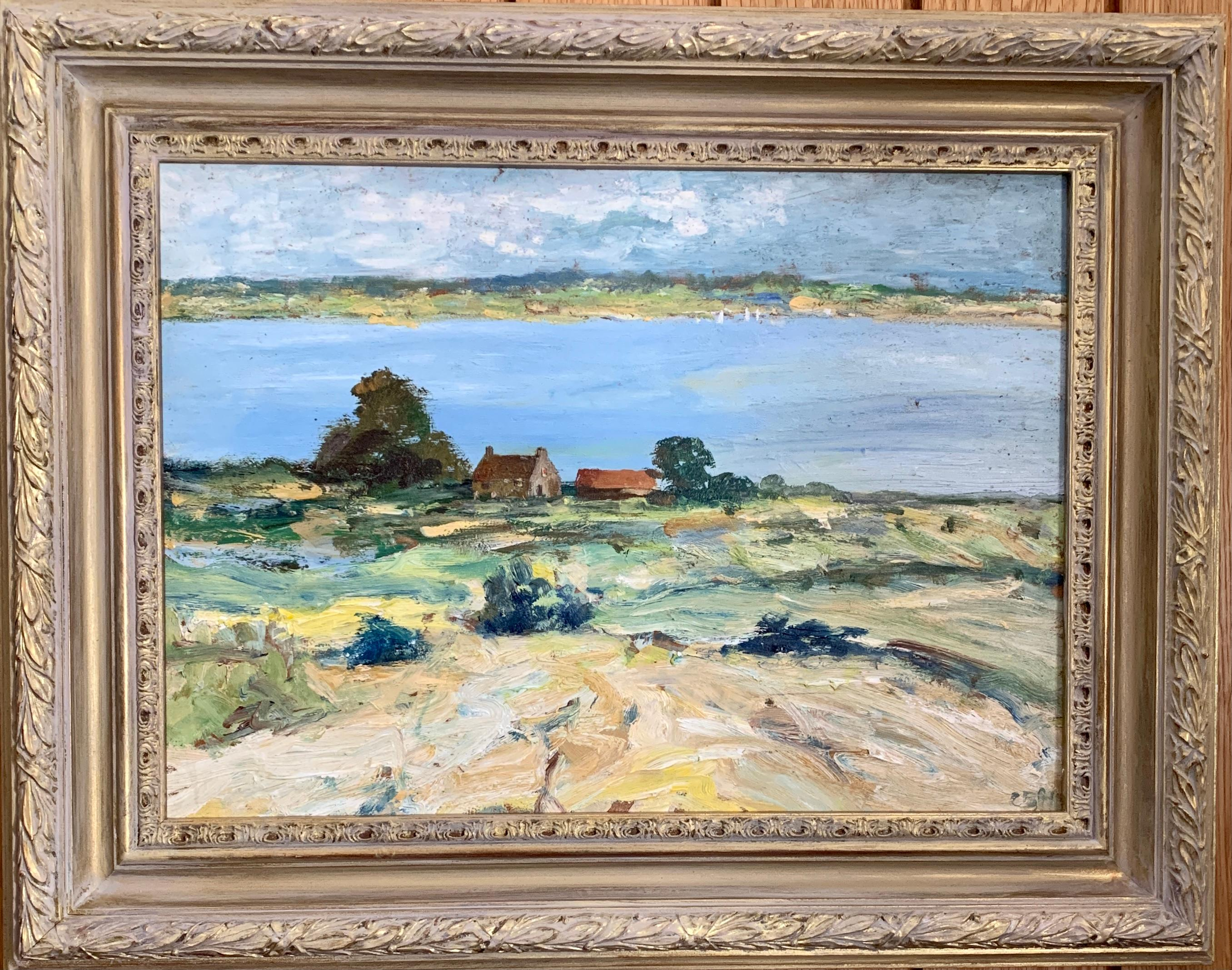 Impressionist Late 20th century River landscape with cottage in Norfolk, England