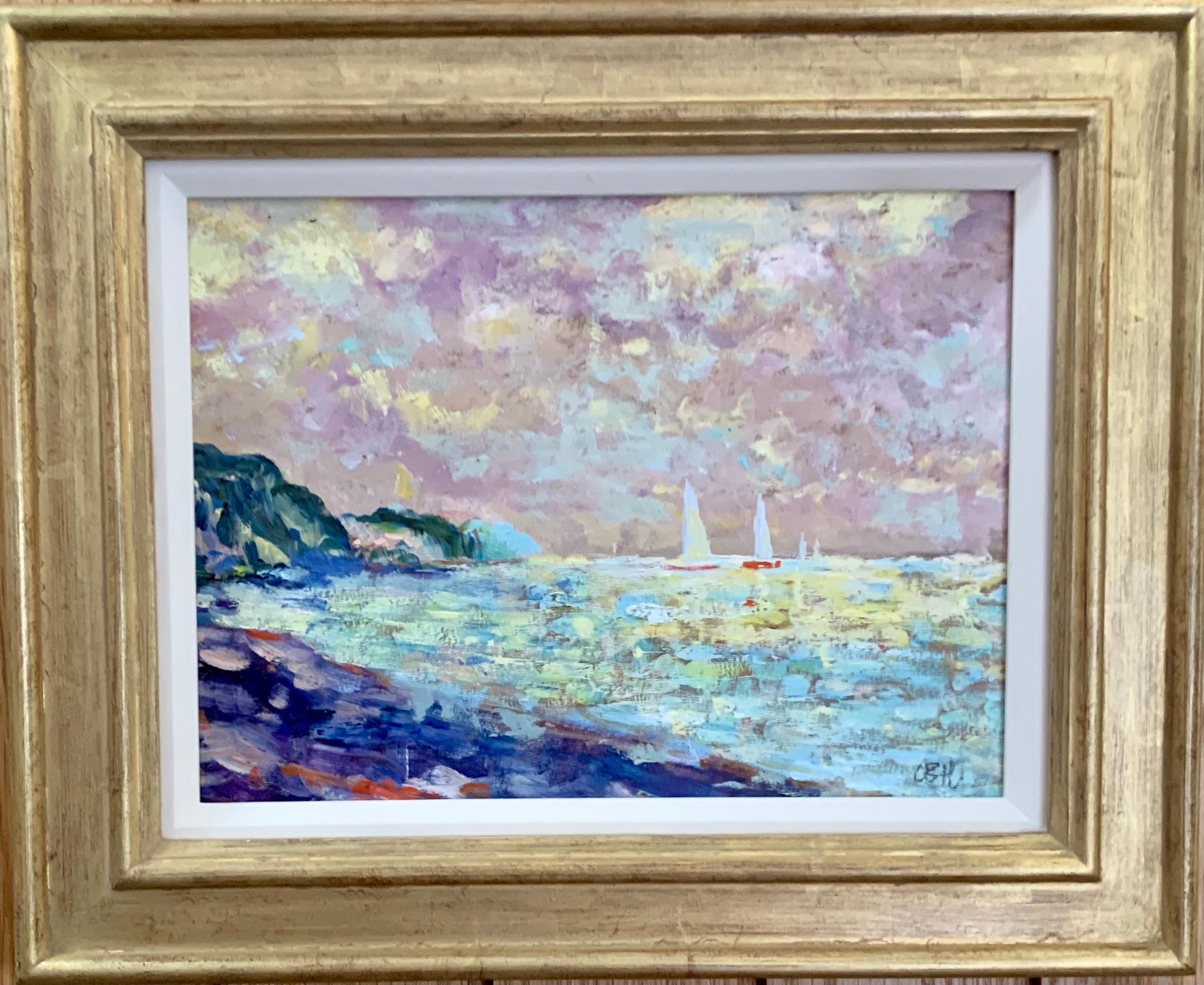 Impressionist Late 20th century seascape, a French coastal scene with yachts