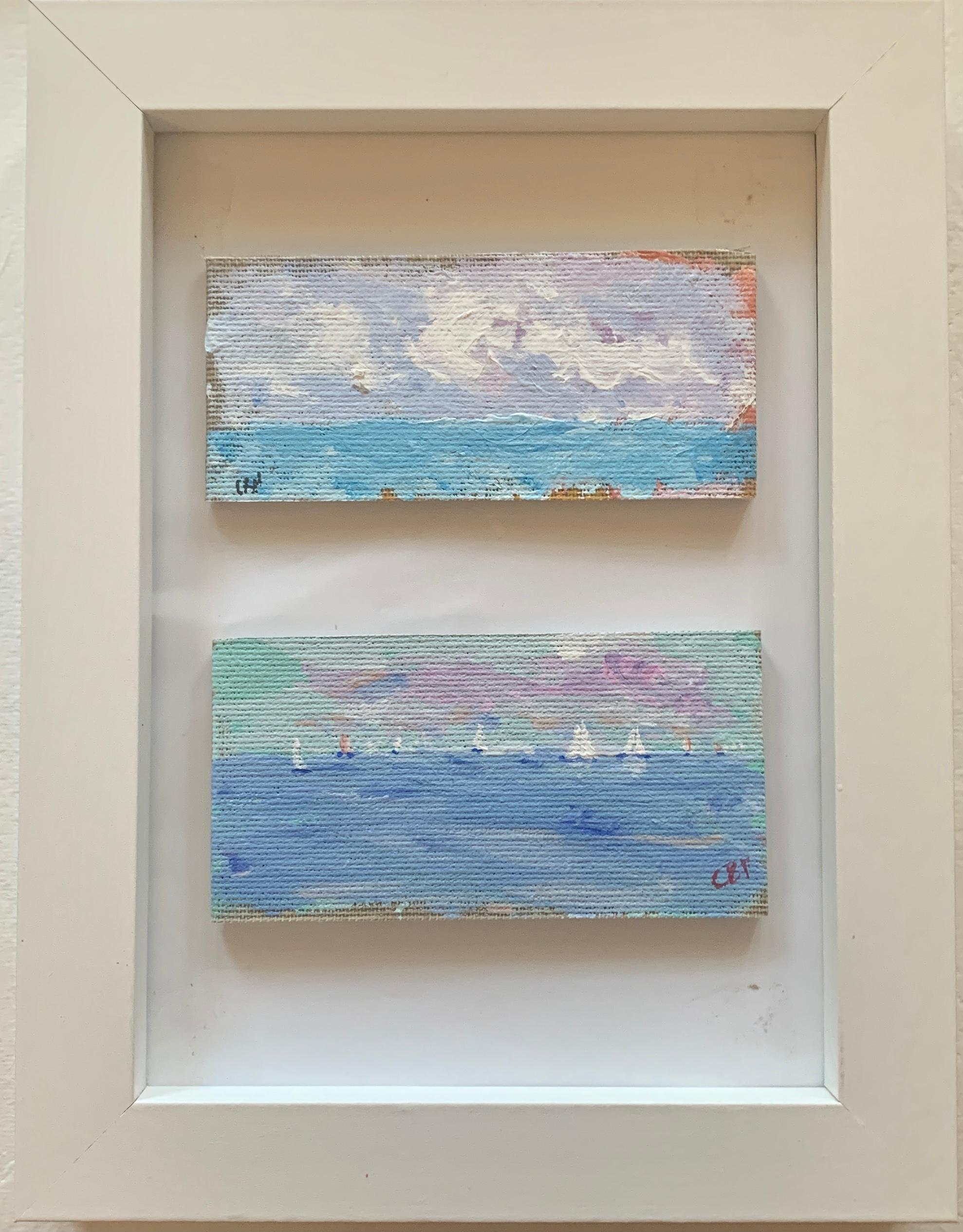 Impressionist oil sketch of yachts off the coast of Nantucket with a cloud study