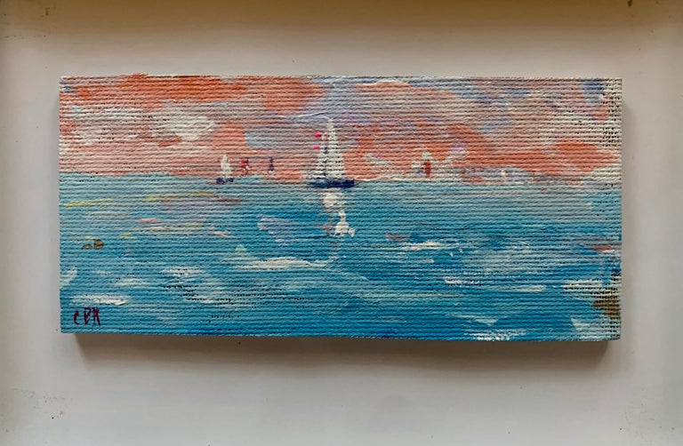 Impressionist oil sketch of yachts off the coast of Nantucket with a Setting Sun - Painting by Charles Bertie Hall