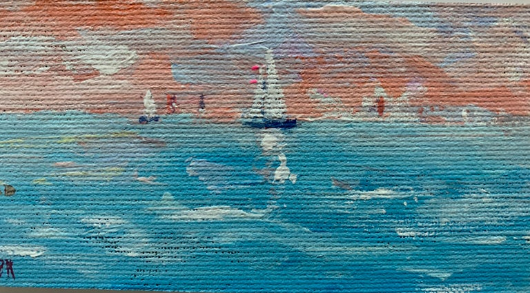 Impressionist oil sketch of yachts off the coast of Nantucket with a Setting Sun - American Impressionist Painting by Charles Bertie Hall