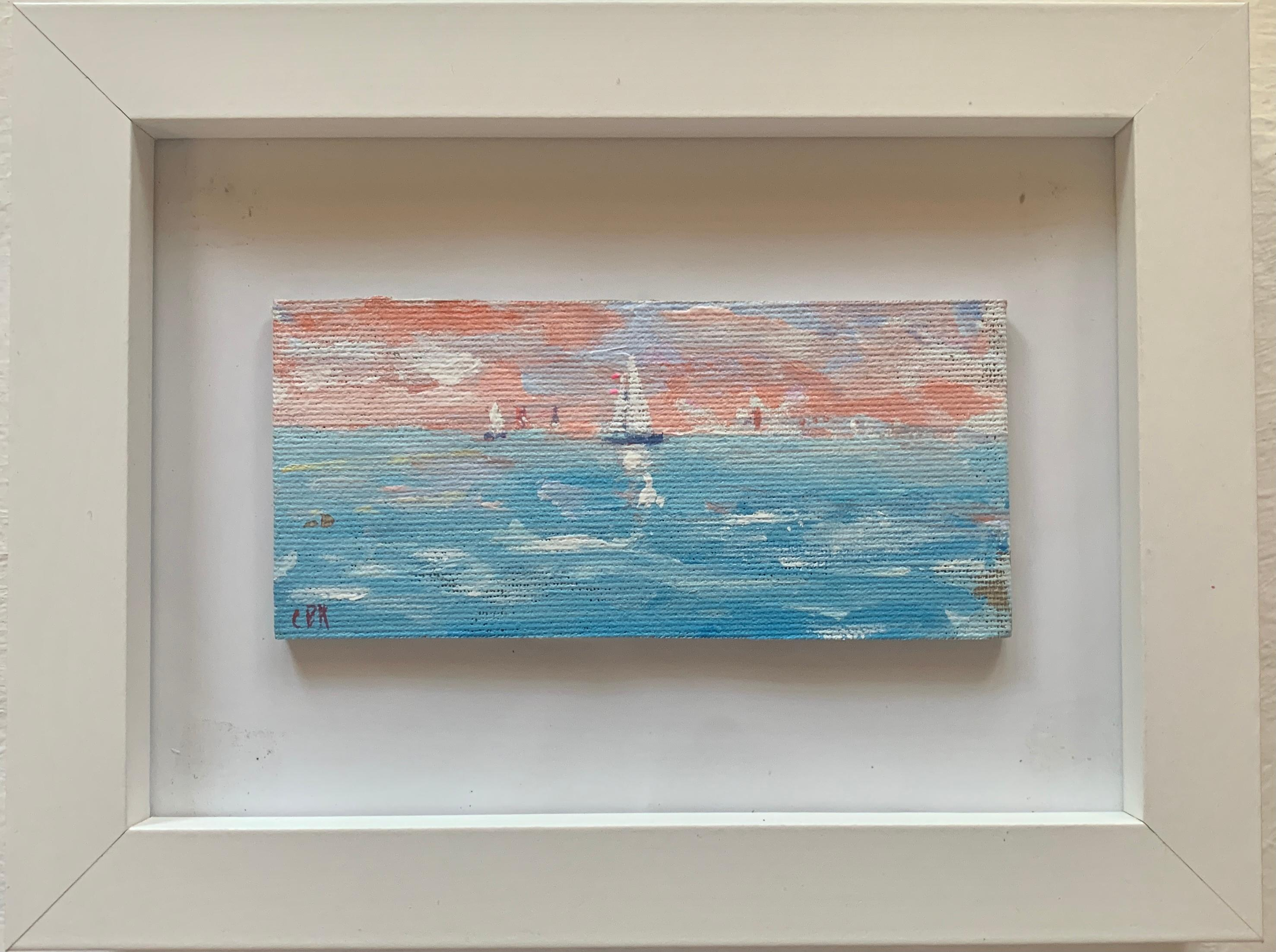 Impressionist oil sketch of yachts off the coast of Nantucket with a Setting Sun
