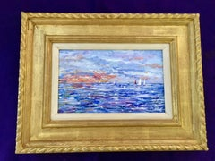 Impressionist scene of  sail boats off of the East Coast of America, Nantucket