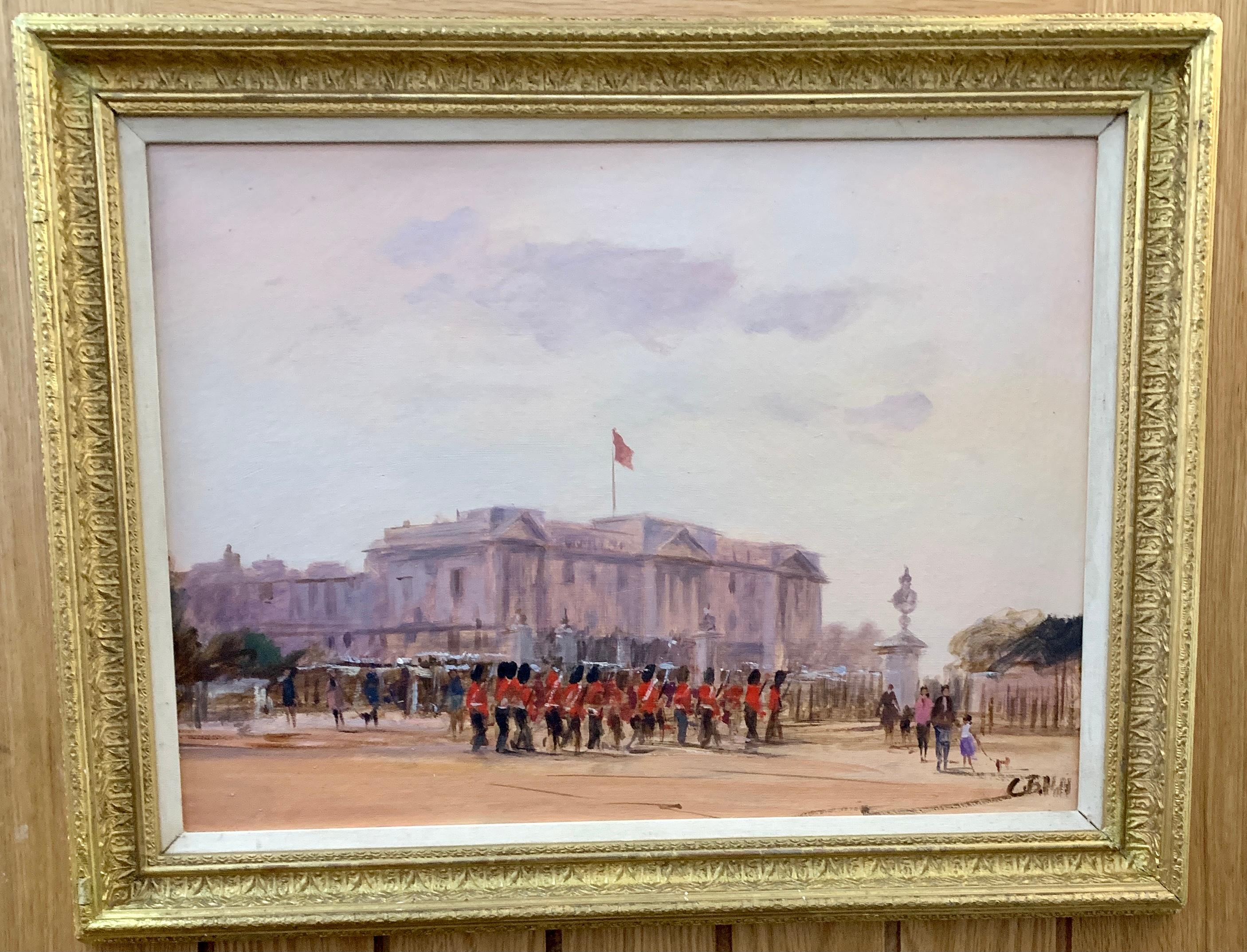 Impressionist view of Buckingham Palace, London with soldiers changing the guard