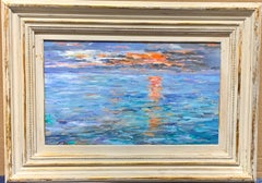 Oil painting 20th Century American Impressionist scene, Sunrise on the water CT