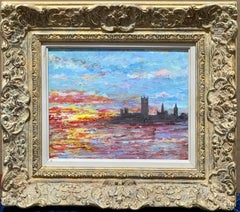 Oil painting 20th Century English on the Thames with the Palace of Westminster