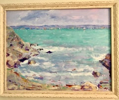 Oil painting late 20th century American Impressionist, Long Island Sound CT view
