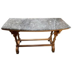 Charles Bevan, Attri. A Gothic Revival Oak Library or Sofa Table with Marble Top