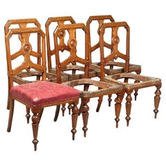 Charles Bevan, Gillows Attr.a Set of Six Aesthetic Movement Oak Dining Chairs
