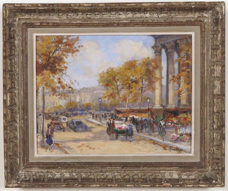 Marche des Fleurs Devant La Madeline - Painting by Charles Blondin