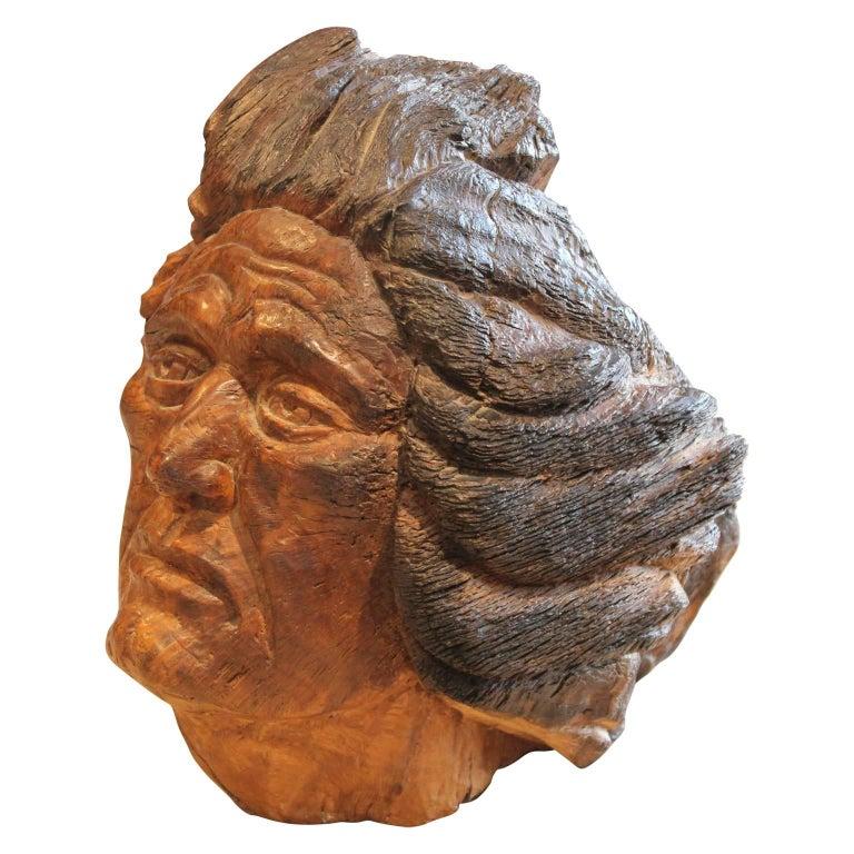 Carved Walnut Bust Sculpture - Brown Figurative Sculpture by Charlie Boren