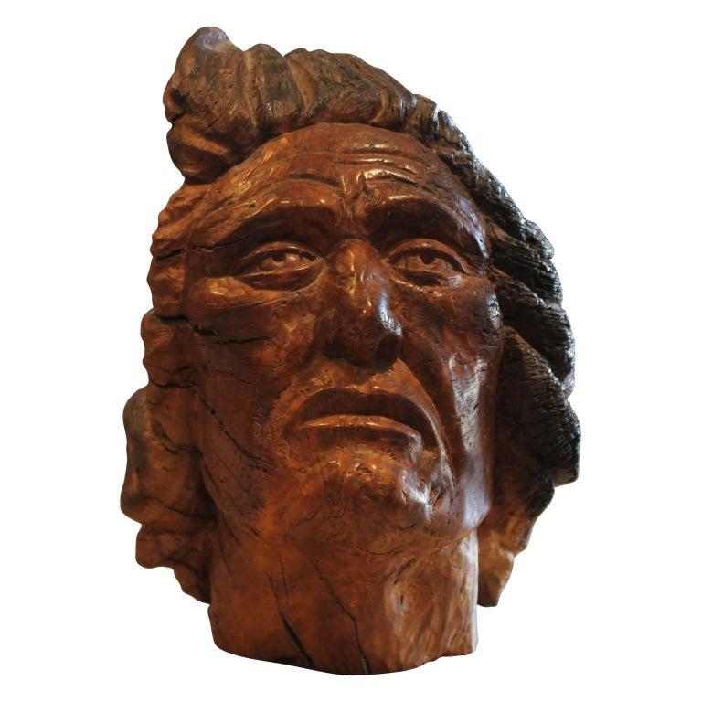 Carved Walnut Bust Sculpture For Sale 2