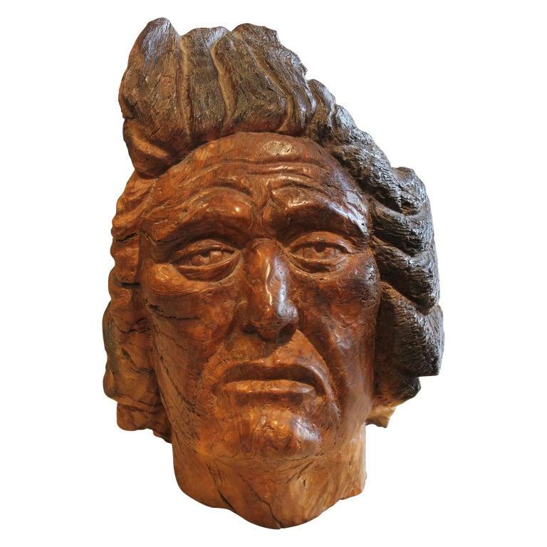 Charlie Boren Figurative Sculpture - Carved Walnut Bust Sculpture