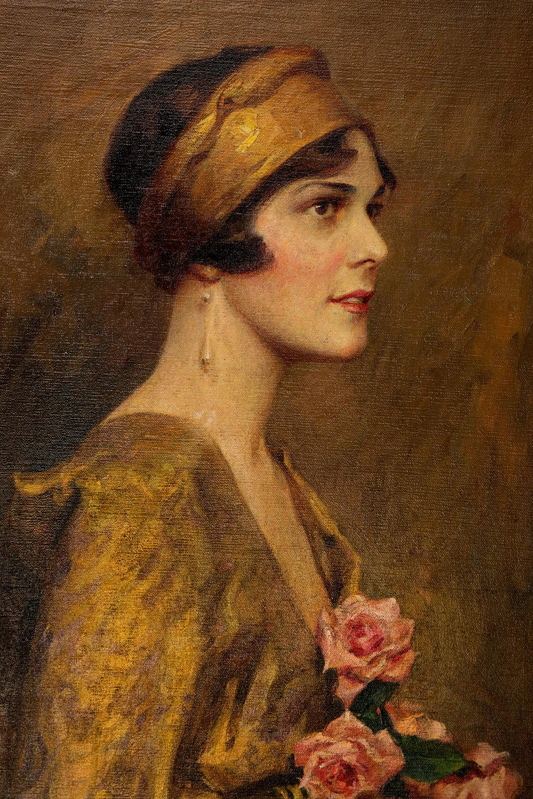 This gorgeous oil on canvas painting is by American artist and illustrator Charles Bosseron Chambers. With deep, rich gold colors set against a muted, textured backdrop, this portrait features an elegant flapper girl wearing a gold kimono with a