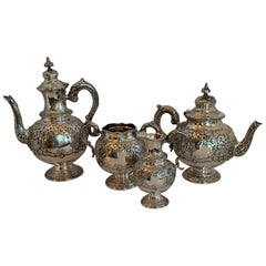 Charles Boyton English Victorian Antique Large Sterling Silver Chased Tea Set