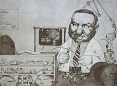Orthodontist, Duotone Colored Lithograph, Charles Bragg