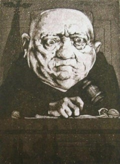 Peace Judge, Duotone Colored Lithograph, Charles Bragg