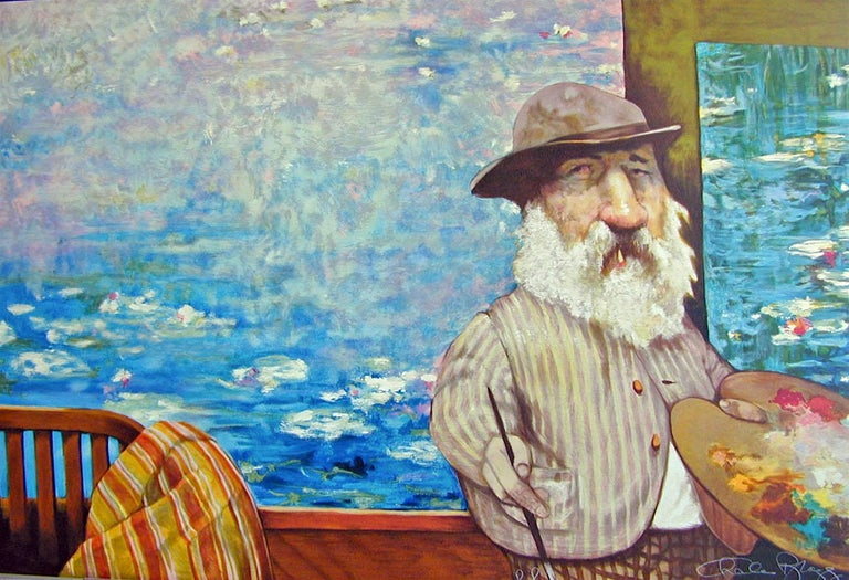 PORTRAIT OF MONET is an original limited edition lithograph printed using traditional hand drawn lithographic plates, one color at a time, on archival Arches printmaking paper, 100% acid free, not a photo reproduction or digital print. Humorous