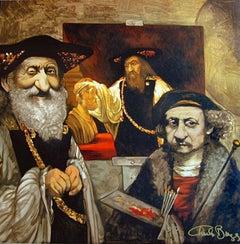 PORTRAIT OF REMBRANDT, Aristotle, Signed Lithograph, Dark Browns, Satirical Art