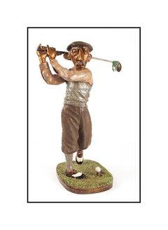 CHARLES BRAGG Original BRONZE SCULPTURE Golfer Authentic Signed Artwork Rare SBO